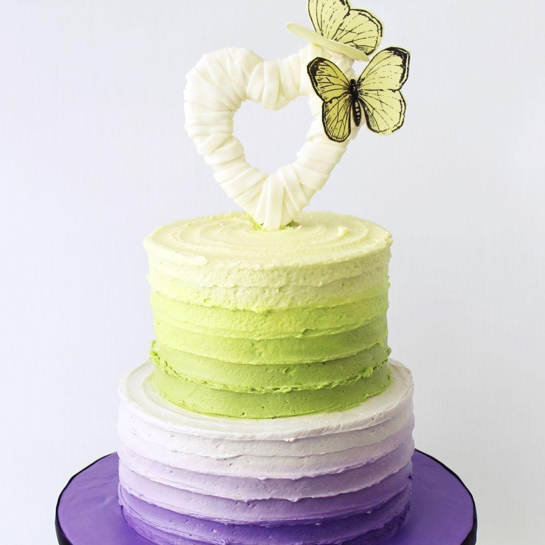 Custom  Green Purple Ombre Butterfly Cake  Milwaukee