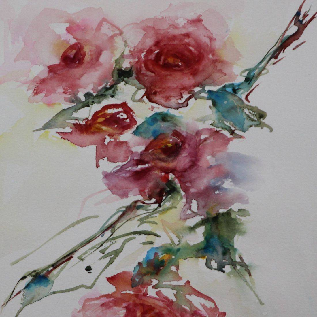 R Putbrese Watercolor, Rebecca Krutsinger watercolor painting of Floral rose