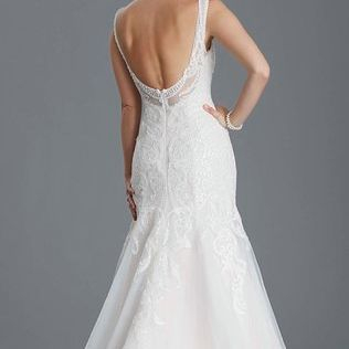 Fishtail crystal low back, fitted wedding dress