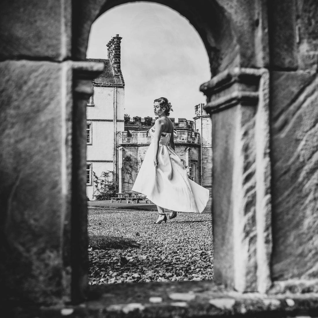Image of a Bride through a frame