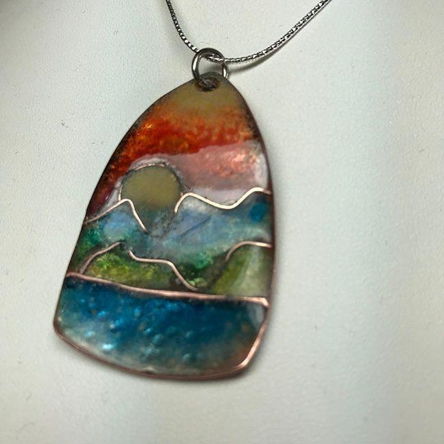 VThatcher - Enamel Cloisonné Landscape necklace
