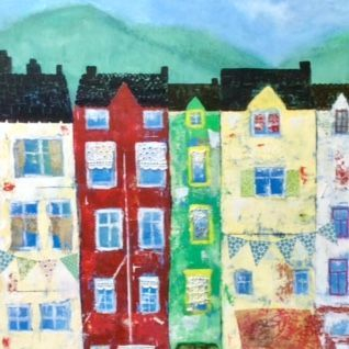 Mixed Media Collage;  by Barbara Polc; Dingle Harbour, Ireland, Street scape, buildings, collage art work