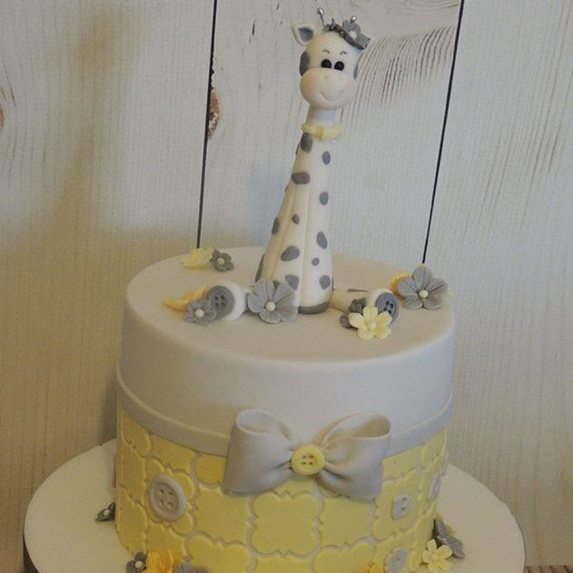 Baby Shower Christening Giraffe Cake Yellow Grey Bow Buttons