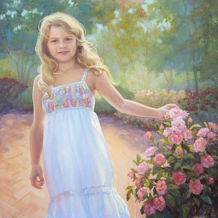 KCrenshaw - Cassidy in the Rose Garden 30x34oil on linen