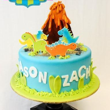 Custom Dino Volcano Cake Milwaukee