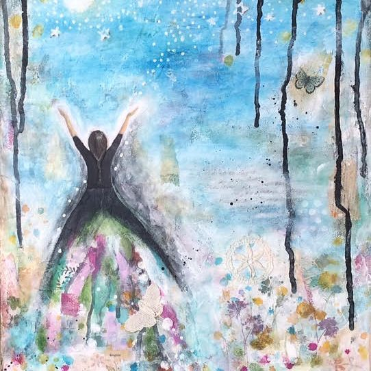 The Daughter.  Art And Soul By The Lake.  Barbara Polc Artist. Collage Art. Fiber Art. Collage On Canvas.  Paper Art. Inspirational Art. Angel. Butterfly.  Starry Night.