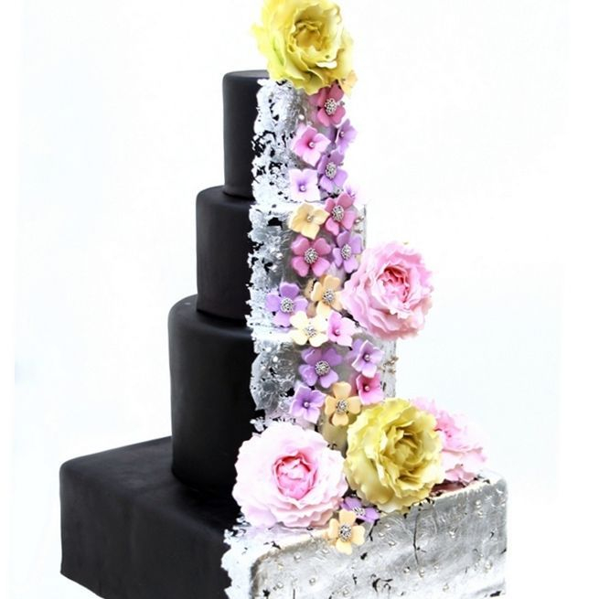 Custom Black Silver Floral Wedding Cake  Milwaukee