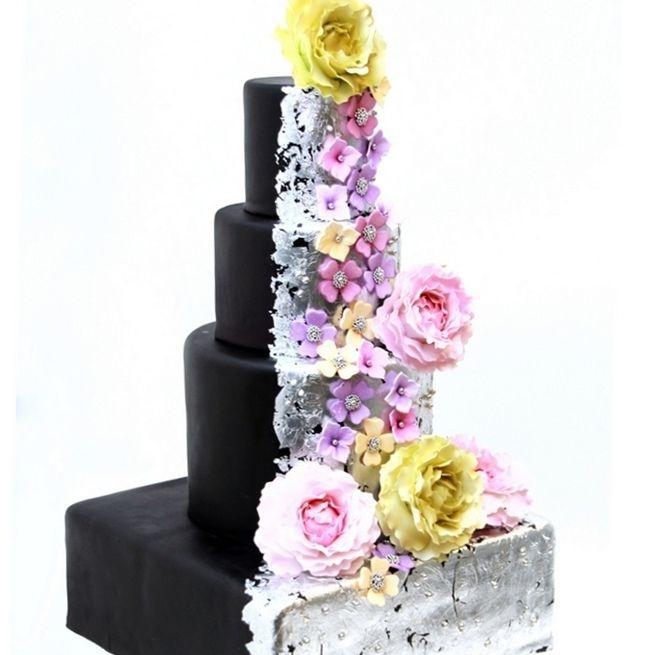 Custom Black Silver Floral Wedding Cake  Milwaukee