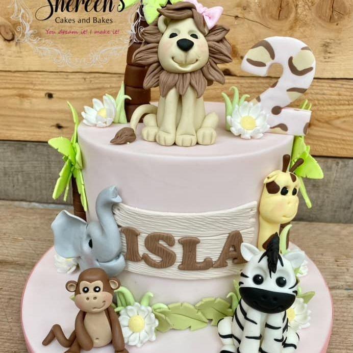 Jungle Birthday Cake Pink Girl Monkey Elephant Lion Zebra Giraffe Cute