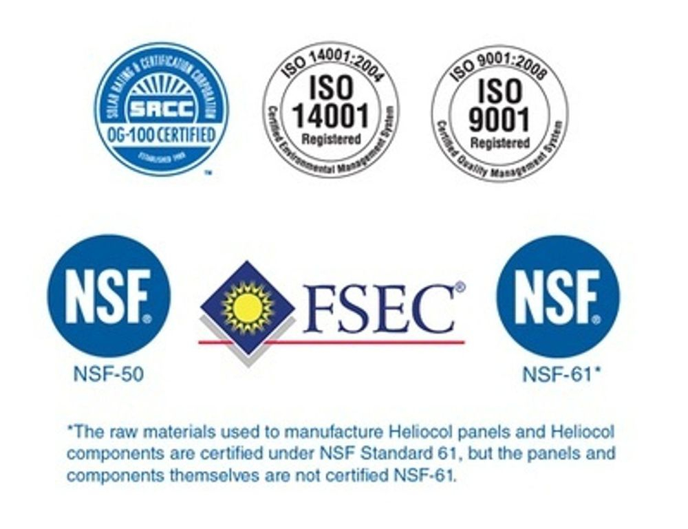 El Calentador Piscina Solar helicol tiene certificacion energy star y srcc. Disponible en Universal Solar 787-635-5575.