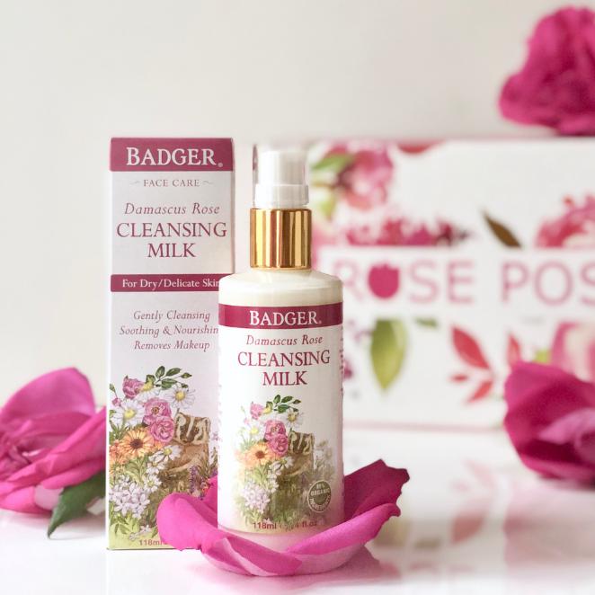 Badger Balm Damascus Rose, rose cleansing milk, organic skincare, skincare cleanser, gentle cleanser, rose-infused