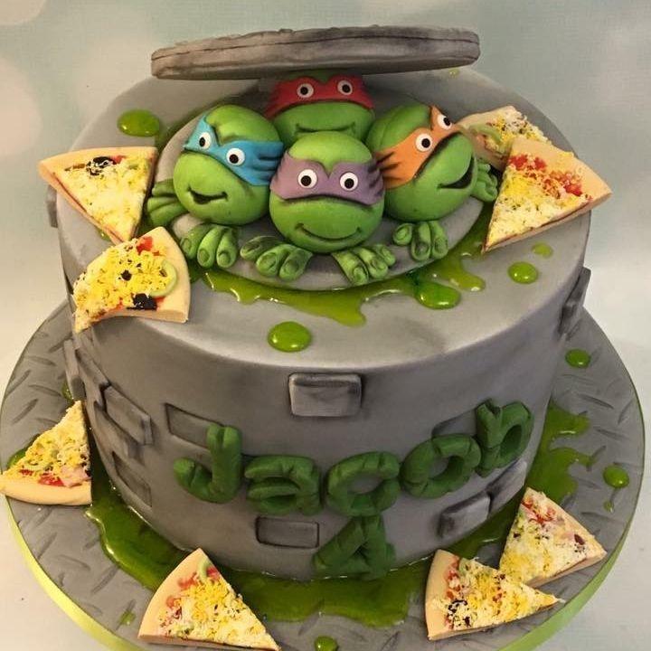Teenage Mutant Ninja Turtles Cake TMNT Pizza Slime Drain