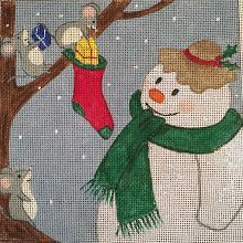 snowman, mice, presents, christmas