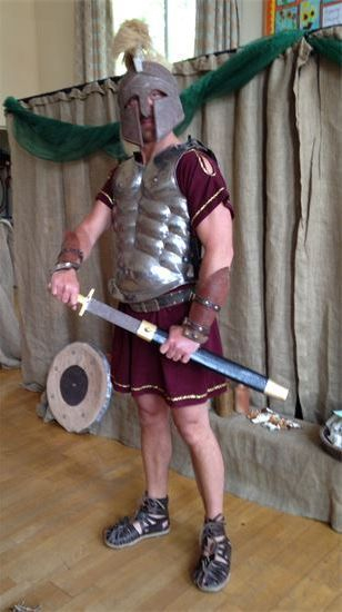 Ancient Greek workshop for primary school with armour demonstration