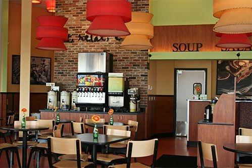 Camille's Sidewalk Cafe dining room & beverage station