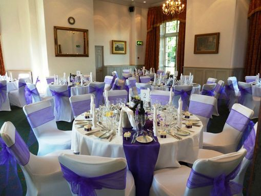purple satin table runners