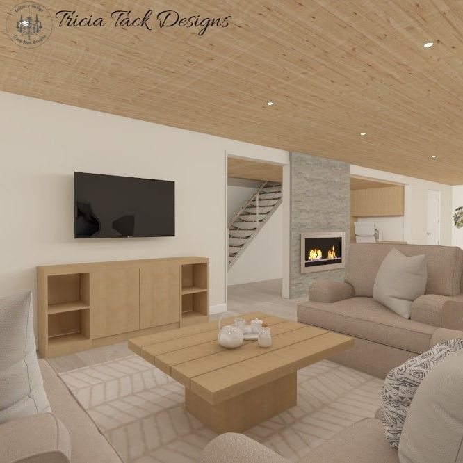Scandinavian basement design, interior design, living room