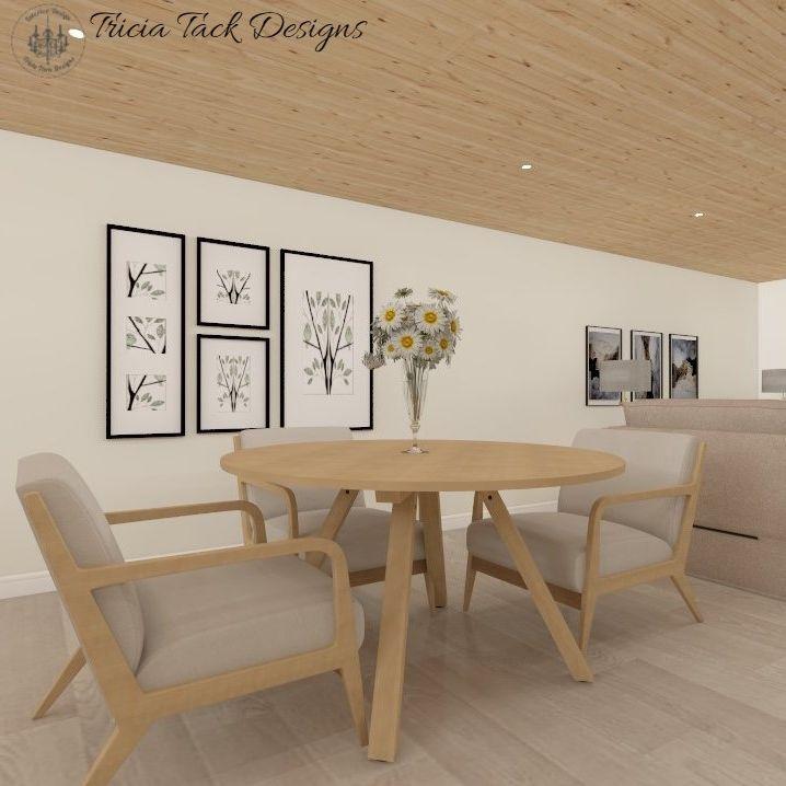 Scandinavian basement design, interior design, seating