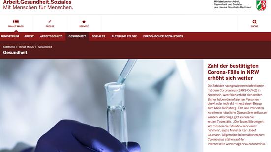 Screenshot Website Ministerium Arbeit Gesundheit Soziales NRW