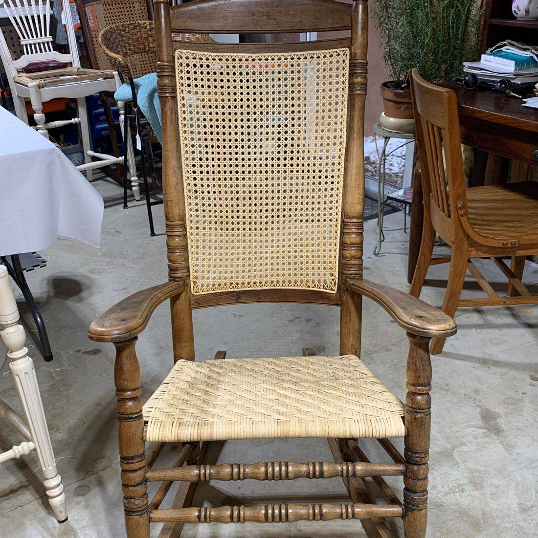 Rocker with Hand Caned Back and Herringbone Seat by Hank's Cane & Rush Restoration