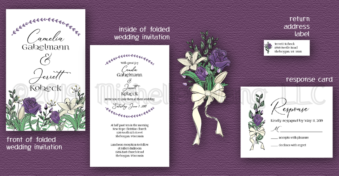 purple roses white lilies wedding invitation reply card suite