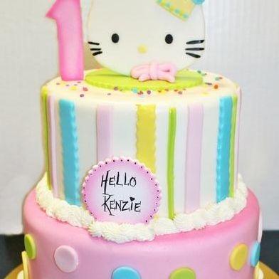 Custom Hello Kitty Stripes Polka Dots Cake Milwaukee