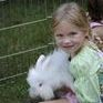Little girl and white bunny