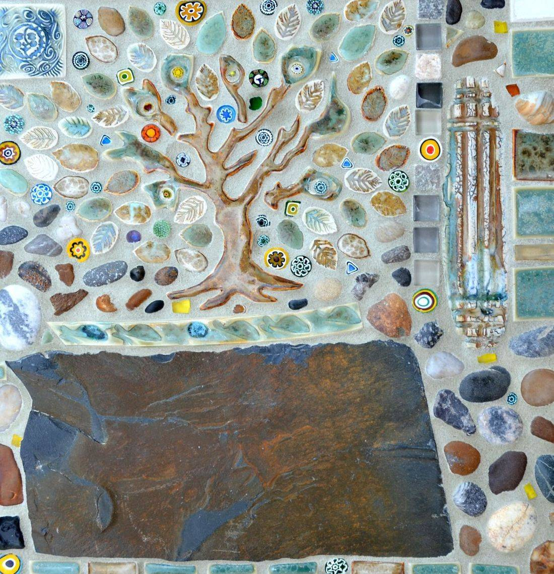 Hand Made Porcelain tree+ tiles, Italian glass, slate, river stones,sanded grout