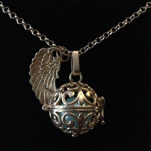 silver, pendant, locket, harmony ball, necklace, chain, charity, angel wings, jingle, harmony, aqua, filigree