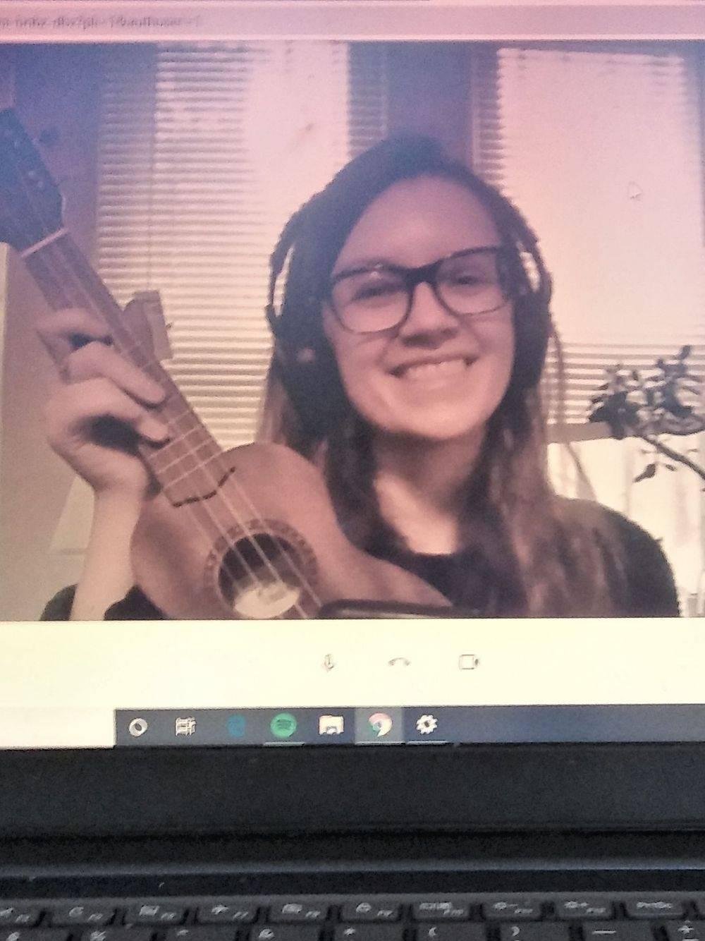 Music therapist Valerie Wilk leading telehealth session with ukuleke
