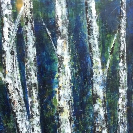 birch trees, oil painting of birch trees, oil and cold wax painting of birches, forest painting, abstract birch forest