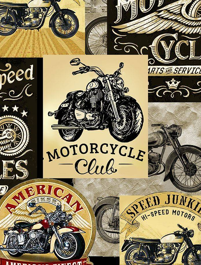 Motorcycle club 100% cotton fabric