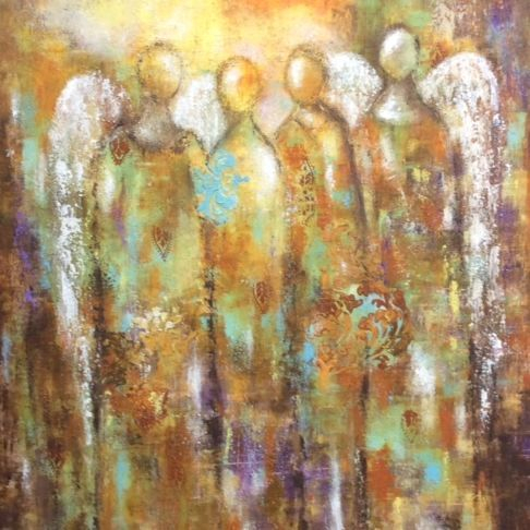 Oil and Cold Wax Medium Painting, Angels, angel painting, abstract angel painting, inspirational art, heaven painting, abstract oil painting, healing art