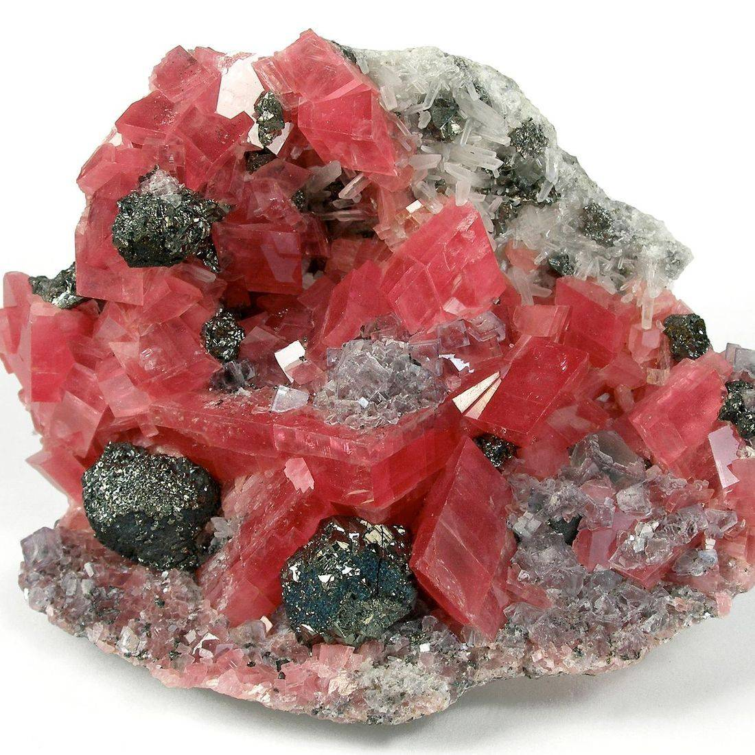 Rhodochrosite and pyrite with quartz