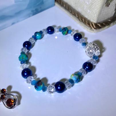 turquoise jade bracelet, jade and crystal bracelet, women's crystal bracelet