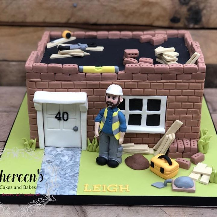 Birthday Cake builder building construction house tools wood cement