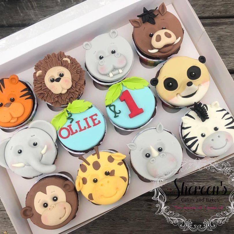 birthday cupcakes jungle animal tiger lion hippo pumba bushpig elephant meerkat monkey giraffe rhino zebra