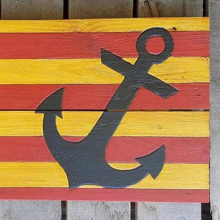 USA Handmade Reclaimed Pallet Wood American Anchor Flag Beach Art