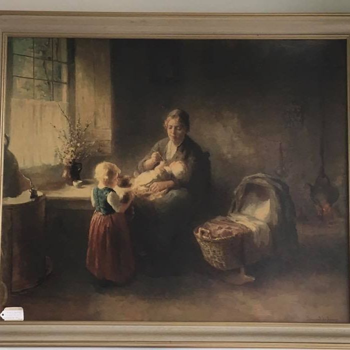 """Feeding the Baby"" Framed Print by Bernard de Hoog  $45.00"