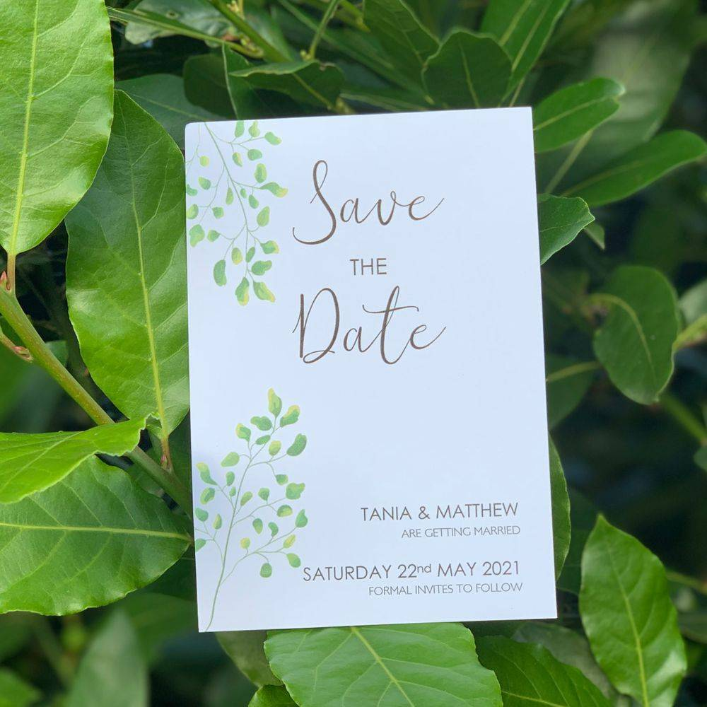 Botanical wedding Theme Save the Date card in White with Green leaves