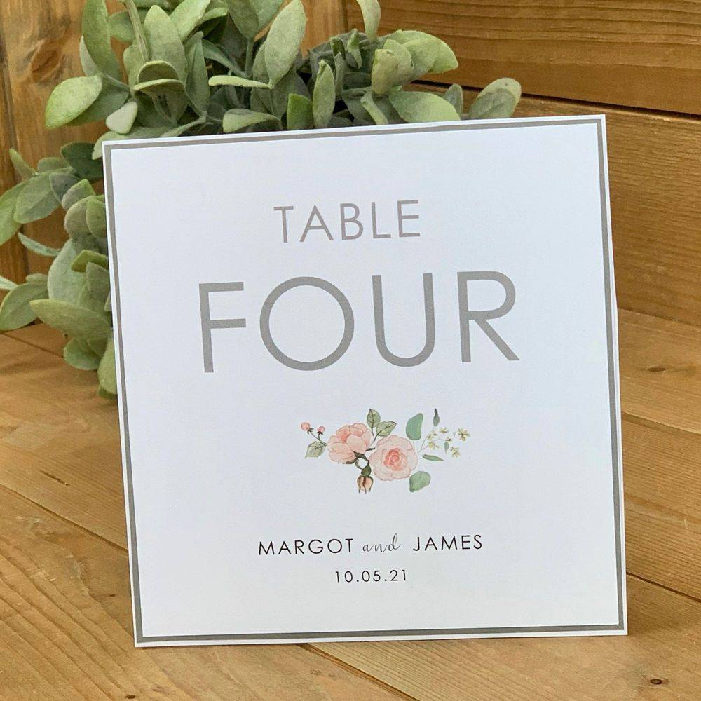White, Grey and Pink Wedding Table number card