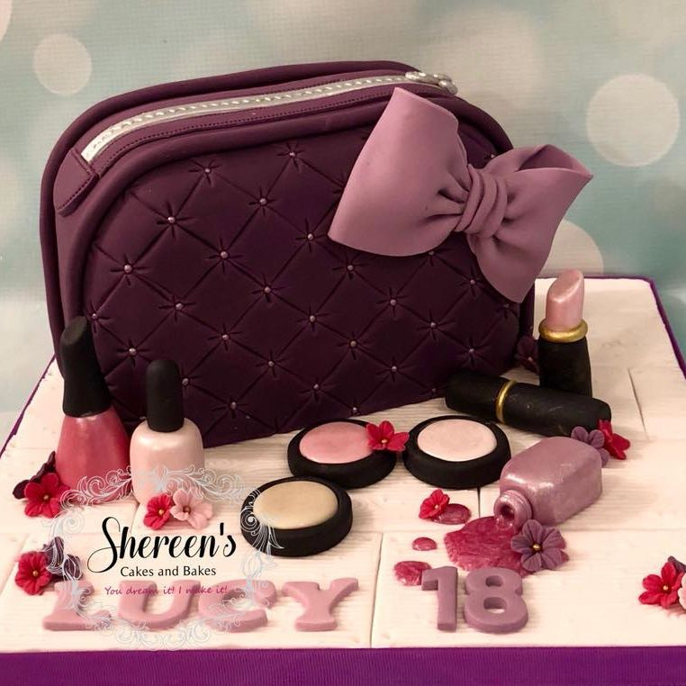 Make Up Cosmetic Bag Cake Purple Pink Nail Polish Varnish Blusher Lipstick