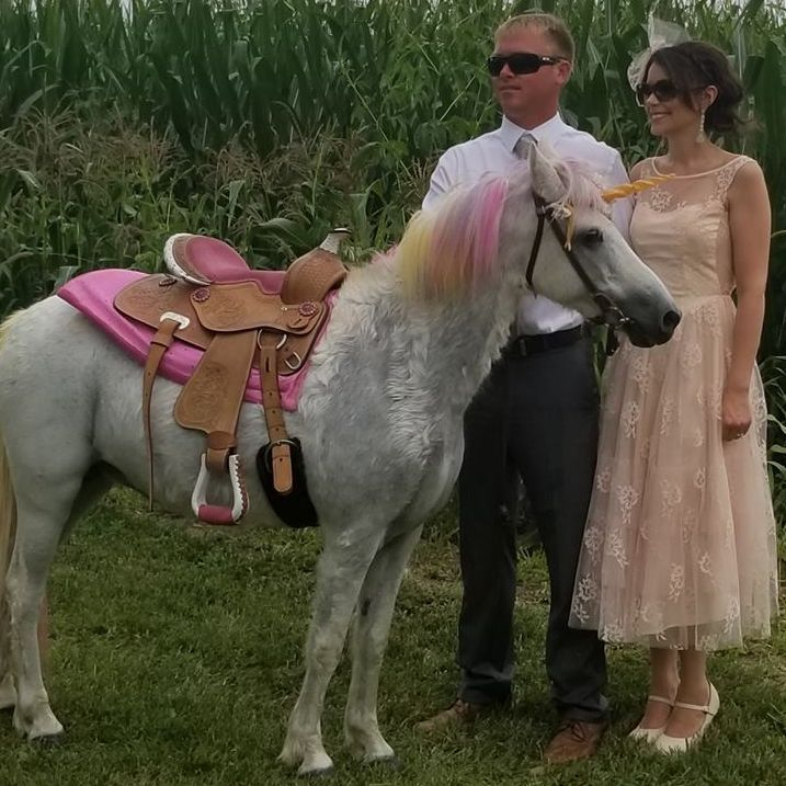 Man and woman dressed up standing next to a unicorn