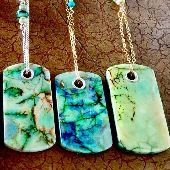"Cultured Opal Dog tags 1.5"" x .75"" on 17"" 14k gold filled chain $95.00 USD"