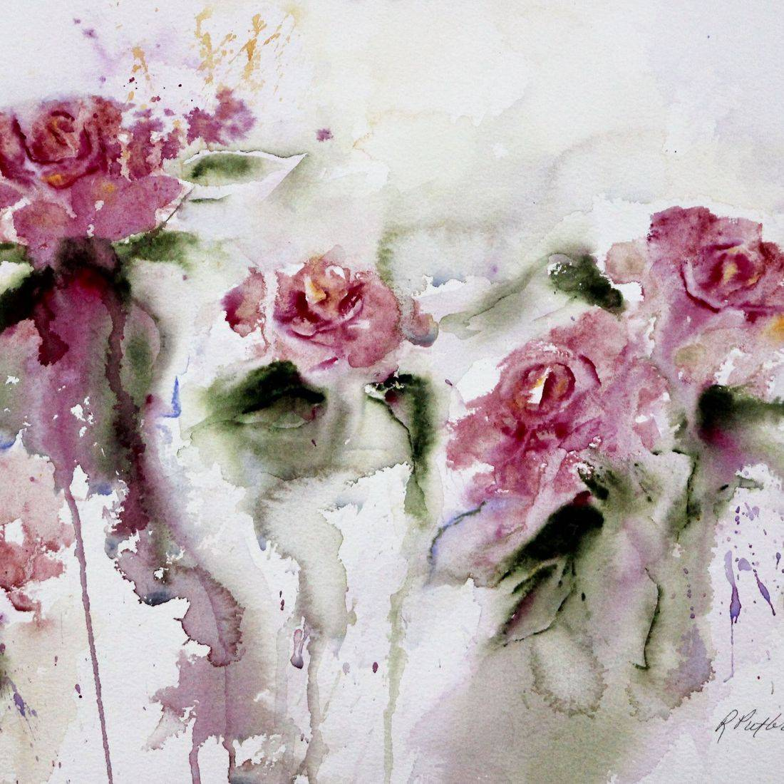 R Putbrese Watercolor, Rebecca Krutsinger watercolor painting of Floral roses