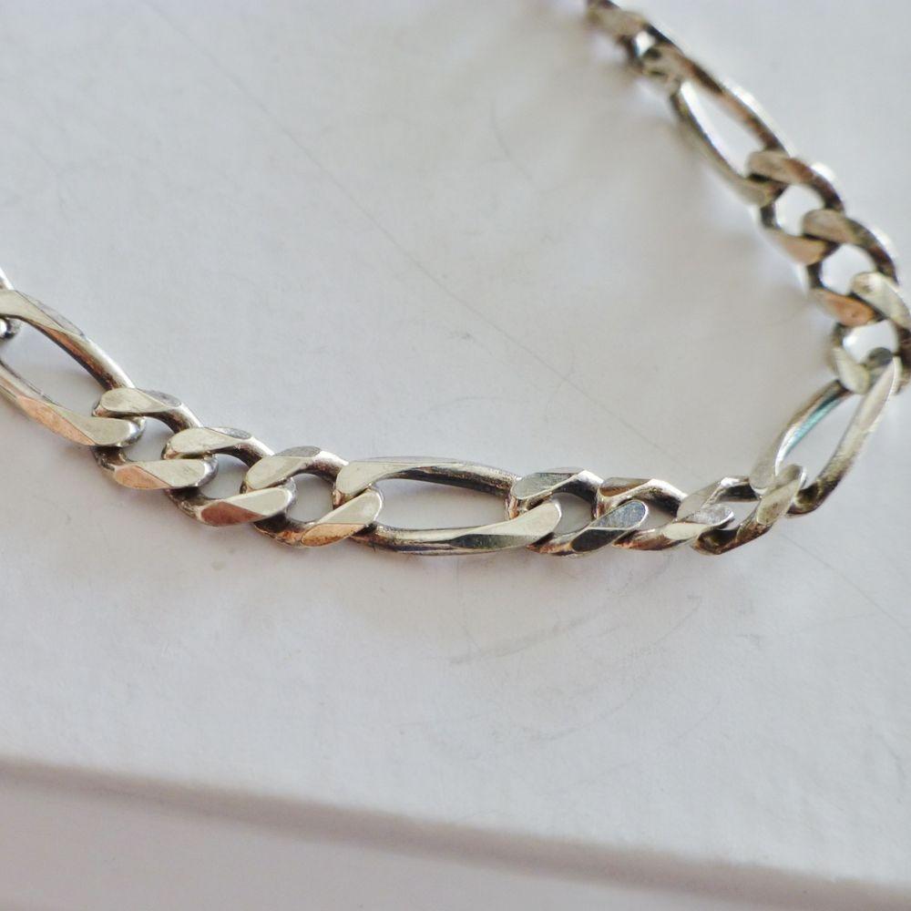 Sterling Silver Figaro Link Men's Bracelet