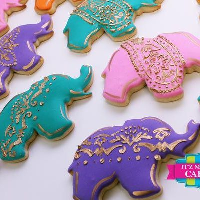 Fancy Gold Elephant Cookies Milwaukee