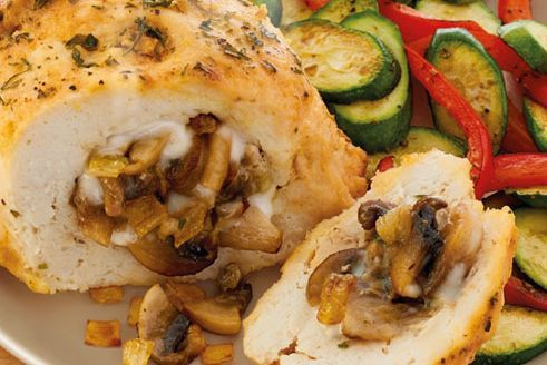 Chicken champignons with wild rice and mushroom stuffing