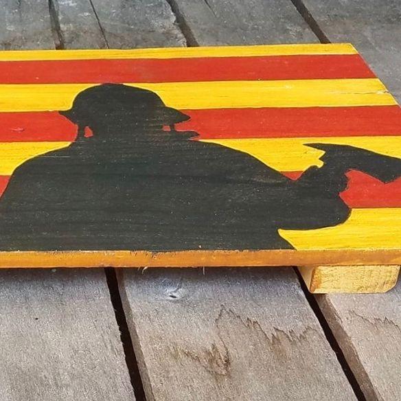 USA Handmade Reclaimed Pallet Wood American Firemen First Responder Flag