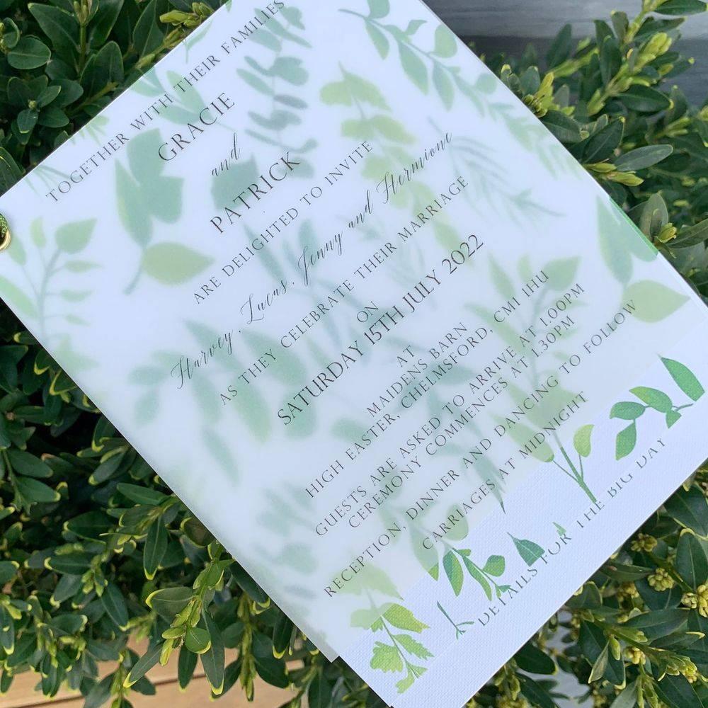 Ivory and Sage green, Eucalyptus wax seal Wedding Invitation